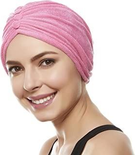 Beemo Soft Terry Cloth Turban Head Cover with Reversible Knot or Button Front (Available in 10 Colors)