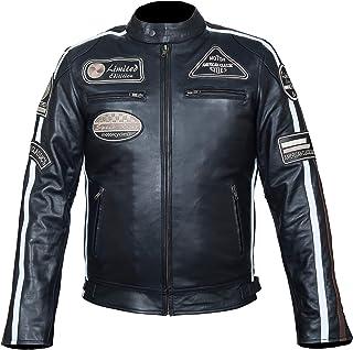 M M bis 4XL Hawk Sports Herren Retro Biker Lederjacke Motorrad Jacke Race Streifen Rockerjacke Chopper,Gr