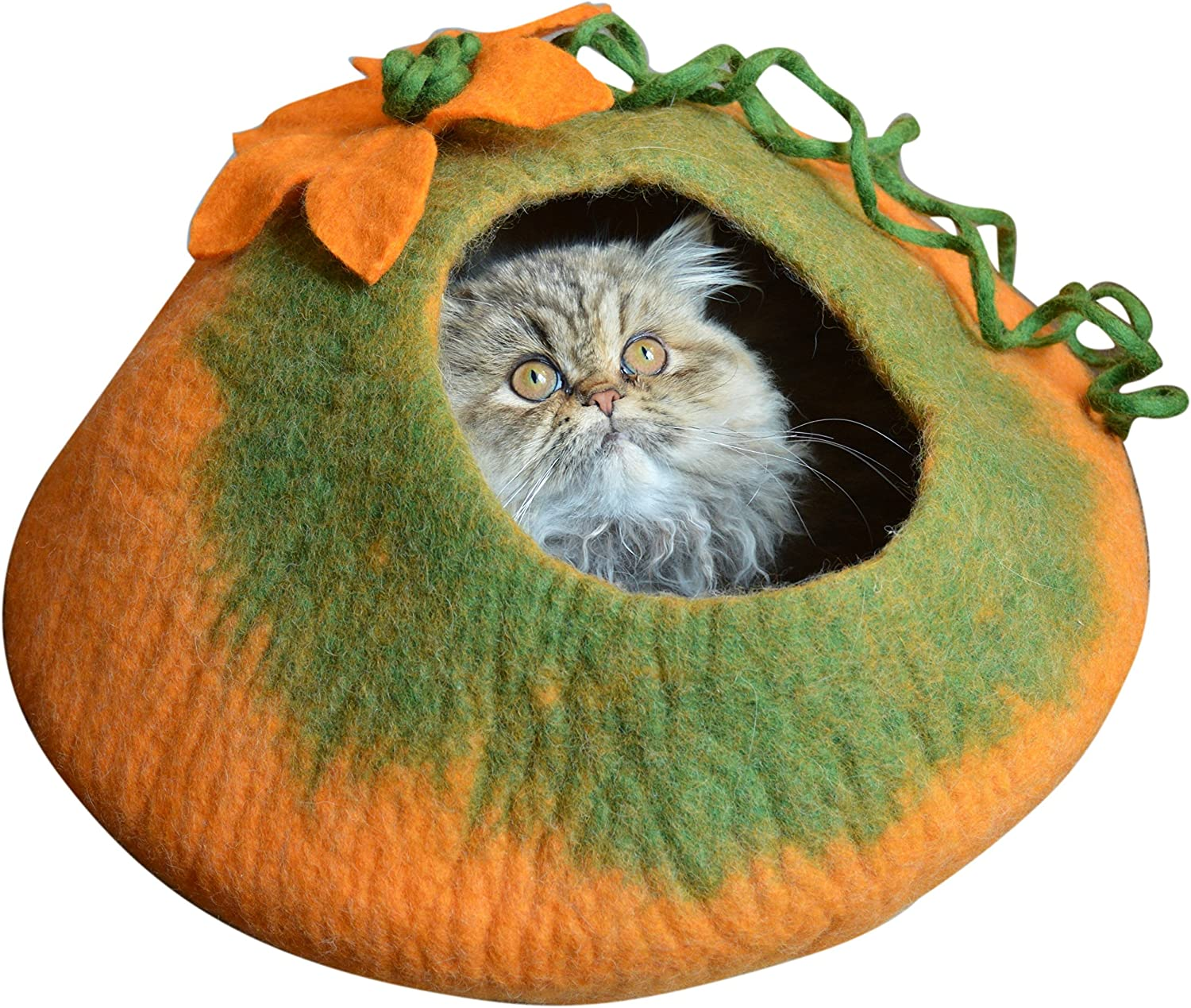 Best Cat Cave Bed, Unique Handmade Natural Felted Merino Wool, Large Covered and Cozy, Also Perfect for Kittens, Includes Bonus Catnip, Original Cat Caves, By Earthtone Solutions (Radiant Realm)