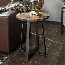 طاولة معيشة من WE Furniture Rustic Farm House مستديرة من معدن جانبي، 45.72 سم، بني جوزي