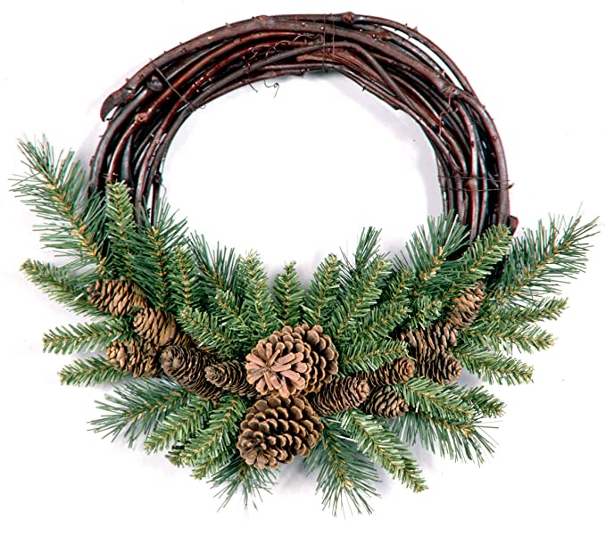 National Tree Company Artificial Christmas Wreath   Flocked with Pine Cones   Grapevine - 16 Inch