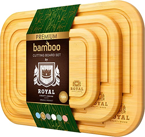 2021 Bamboo Cutting Board Set with Juice Groove wholesale (3 Pieces) - Kitchen Chopping Board for Meat (Cutting Board) Cheese and outlet online sale Vegetables (Natural) sale
