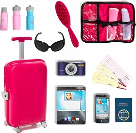 18 inch Doll Travel set including Carry on Luggage with Ticket Passport & 14 accessories.