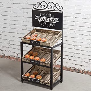 MyGift Metal Scrollwork & Rustic Torched Wood Crate Display Stand w/Chalkboard Sign