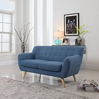Mid-Century Modern Linen Fabric Sofa, Loveseat in Colors Light Grey, Polo Blue, blue, Yellow and Red (Blue, 2 Seater)
