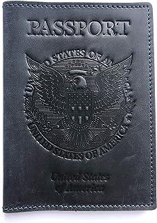 جلد أصلي في الولايات المتحدة الأمريكية حامل غطاء لجواز السفر محفظة لجواز السفر جلد عتيق محفظة جلدية لحمل جواز السفر