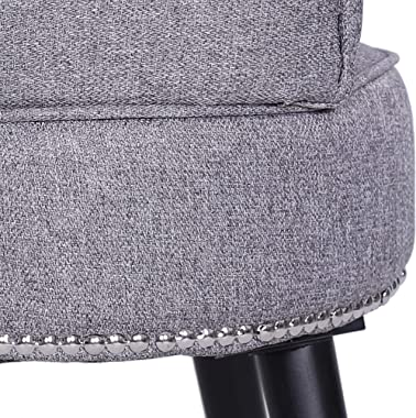 MUPATER Vanity Stool Chair Makeup with Low Back, Round Linen Padded Chair with Wood Legs, Grey