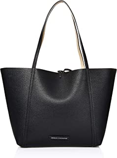A|X Armani Exchange Pebble PU Reverisble Tote Bag, Black/Gold