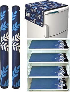 Factcore Combo of Exclusive Decorative Kitchen Combo Fridge Top Cover(21 X 39 Inches), Fridge Handle Covers (12 X 6 Inche...