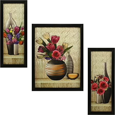 Indianara 3 Pc Set of Floral Paintings (1056) Without Glass 5.2 X 12.5, 9.5 X 12.5, 5.2 X 12.5 Inch
