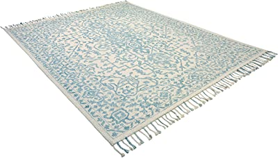 Amazon Brand – Stone & Beam New England Tassled Wool Farmhouse Area Rug, 8 x 10 Foot, Blue and Cream
