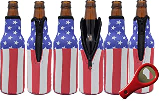 Beer Bottle Sleeves (6 Pack) Coolies With American Flag Design, Made Of Neoprene & Fit 12 Ounce Glass Beer Bottles Including Bottle Opener