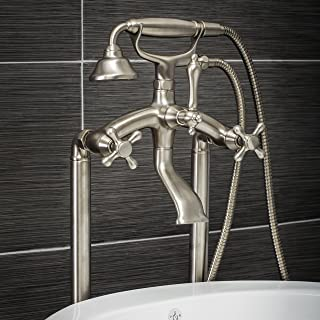 Luxury Clawfoot Tub or Freestanding Tub Filler Faucet, Vintage Design with Telephone Style Hand Shower, Floor Mount Installation, Cross Handles, Brushed Nickel Finish