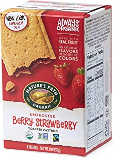Nature's Path Unfrosted Berry Strawberry Toaster Pastries, Healthy, Organic, 11-Ounce Box