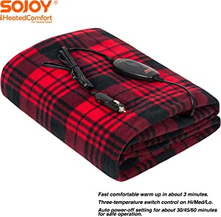 SOJOY 12V Heated Smart Multifunctional Travel Electric Blanket for Car, Truck, Boats or RV with High/Low Temp Control (60