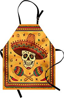 Lunarable Mexican Apron, Mexican Sugar Skull Cartoon Carnival Cartoon Traditional Celebration Print, Unisex Kitchen Bib with Adjustable Neck for Cooking Gardening, Adult Size, Orange Teal