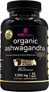 Sponsored Ad - Organic Ashwagandha Root 2250mg with Organic MCT Oil Powder & Black Pepper – Pure Potent Natural Anxiety Re...