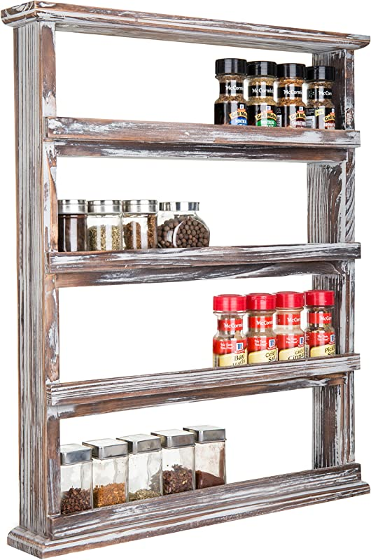 MyGift Rustic Torched Wood Wall Mounted 4 Tier Spice Rack