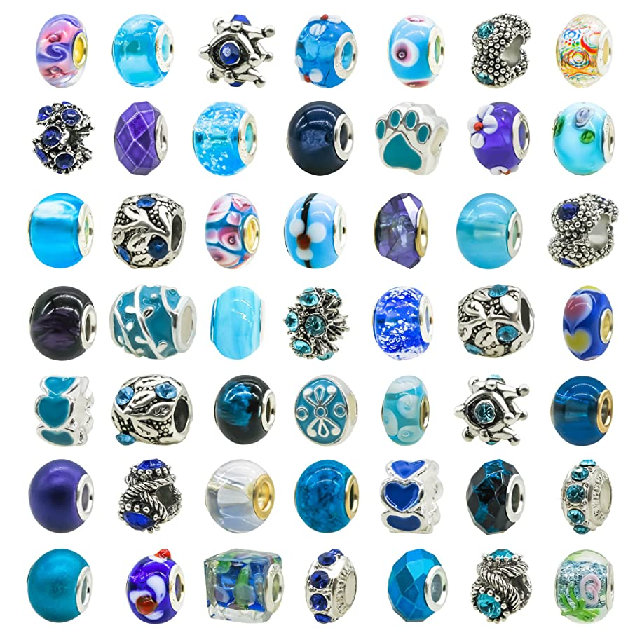 TOAOB 50pcs Assorted Lampwork Glass Beads Rhinestone Metal European Beads Fit Snake Style Charm