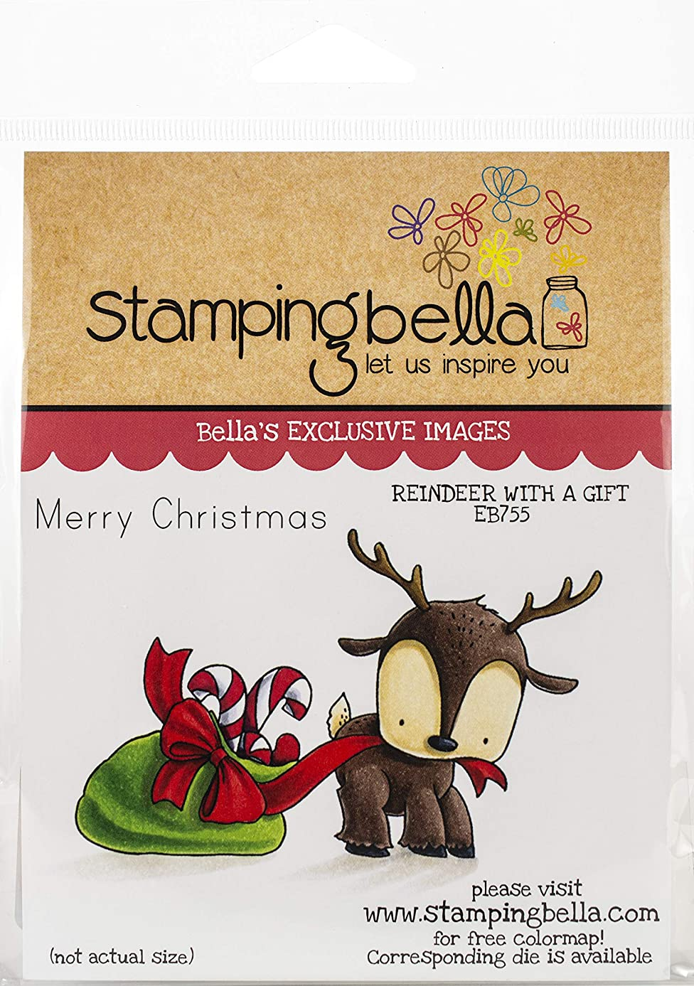 Stamping Bella EB755 Cling Stamps-Reindeer with A Gift Stuffie
