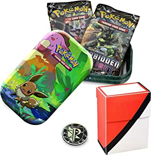 Totem World Eevee Kanto Friends Mini Tin with Poke Ball Deck Box Bundle - Perfect for Pokemon Cards
