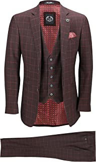 Xposed New Mens 3 Piece Suit Maroon Windowpane Check Vintage Retro Smart Tailored Fit UK Size