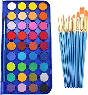 SKKSTATIONERY Watercolor Paint Set, 36 Colors, Includes 10 Pcs Brushes, Brushes Works Great for Watercolor and Acrylic.