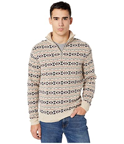J.Crew Fair Isle Wool-Merino Blend Donegal Half-Zip Sweater (Fair Isle Ivory Donegal) Men