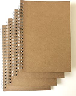 VEEPPO 4 Pack A5 Graph Grid Spiral Notebooks and Journals Bulk 5.3 x 7.5inch Kraft Cardboard Cover Thick 5mm Squared Graph Ruled White Paper (A5-4 pack 5mm Graph Paper)