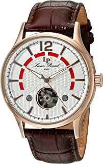 Lucien Piccard Men's Transway Stainless Steel Automatic-self-Wind Watch with Leather Calfskin Strap, Brown, 24 (Model: LP-15038-RG-02S)