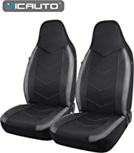 PIC AUTO High Back Car Seat Covers - Sports Carbon Fiber Mesh Design, Universal Fit, Airbag Compatible (Gray)