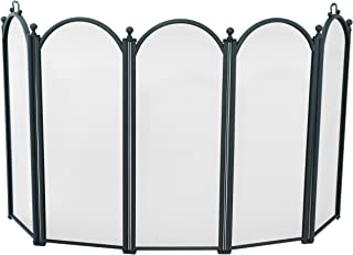 Uniflame Large Diameter Five Fold Black Fireplace Screen with Handles