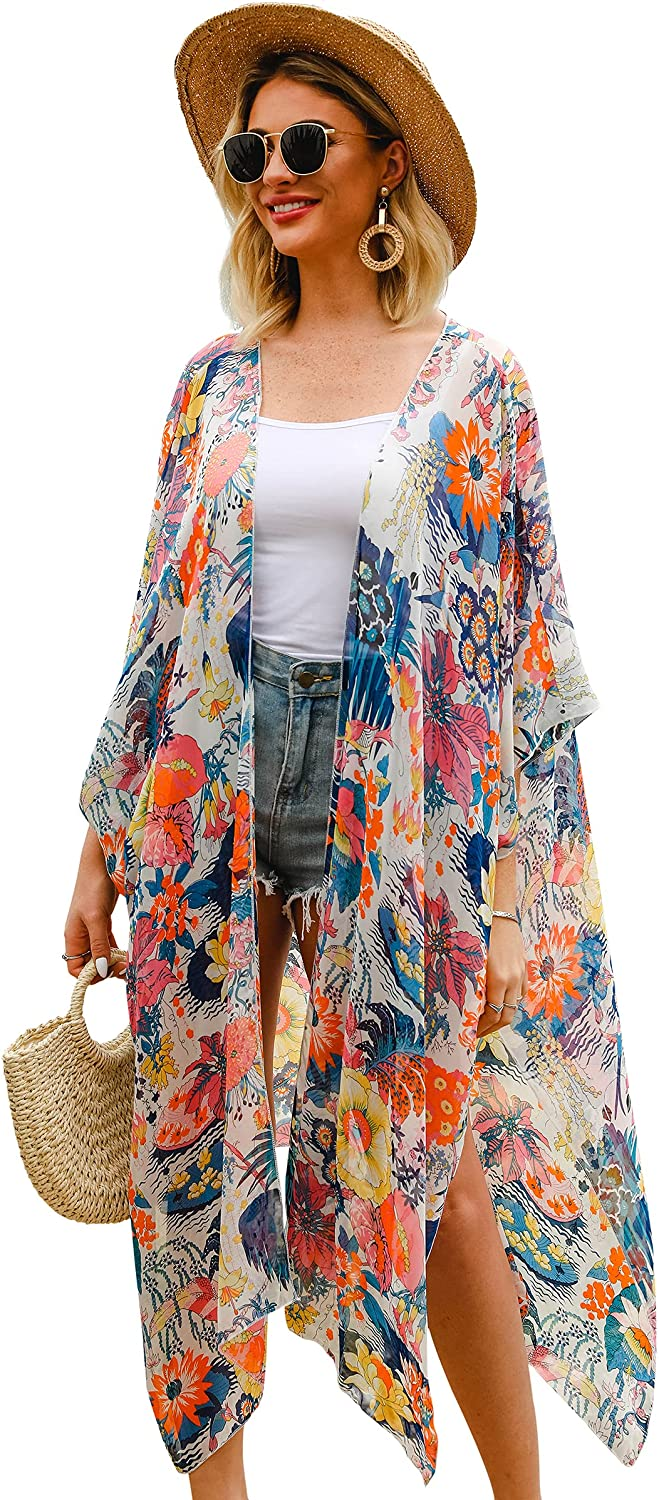 Hibluco Women's Casual Printed Kimono Cover Up Cardigan Sheer Swimsuit Cover Up
