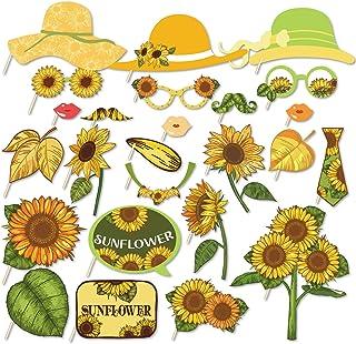 Kristin Paradise 25 Stück Sonnenblumen Requisiten mit Stick, gelbe Sonnenblumen Thema, Selfie Requisiten, Geburtstagsparty Zubehör, Fotografie Hintergrund, Dekorationen