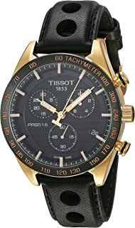Tissot Men's Black Dial Leather Band Watch - T100.417.36.051.00