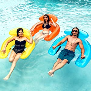 SLOOSH 3 Pack Pool Lounge Floats with Built-in Beverage Cup Holders and Headrest, Sit N Float Inflatable Pool Lounge Chair (Orange, Blue, Yellow) for Summer Pool Party, Pool, Outdoor Beach