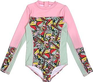 SwimZip UPF 50+ Girls Long Sleeve 1 Piece Body Suit Swimsuit (Multiple Colors)