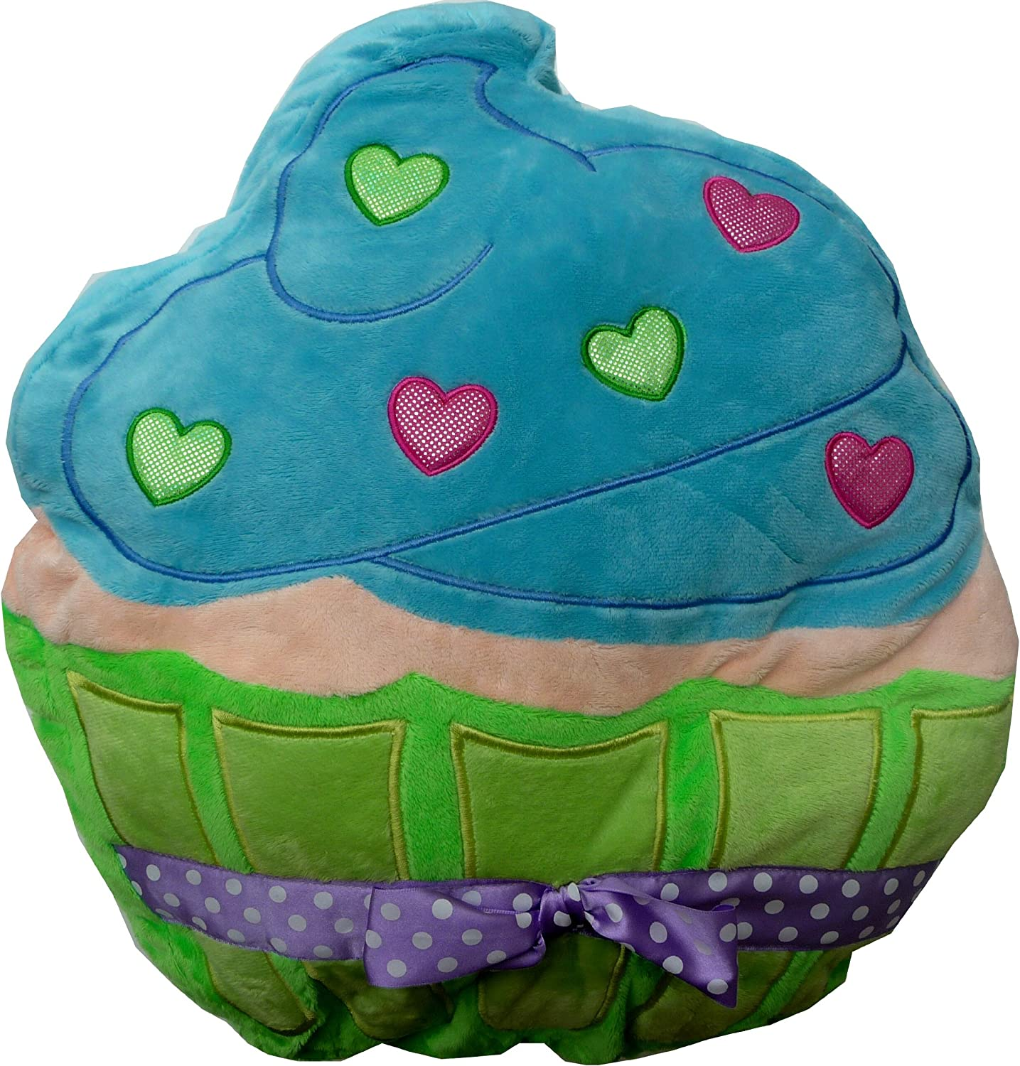 Plush Cupcake Pillow - Green and bluee
