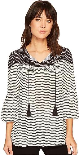 Wavy Stripe Georgette Bell Sleeve Tassel Blouse