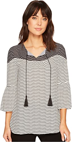 Ivanka Trump - Wavy Stripe Georgette Bell Sleeve Tassel Blouse