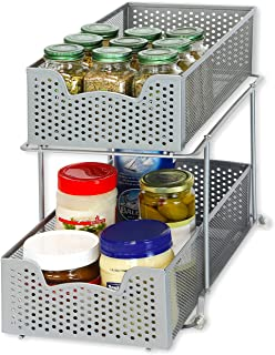 Simple Houseware 2 Tier Sliding Cabinet Basket Organizer Drawer, Silver