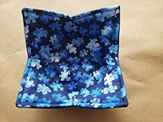 Autism Awareness Microwave Bowl Cozy Blue Reversible Microwaveable Potholder Puzzle Piece Soup Holder Jigsaw Puzzle Kitchen Linens Teacher Gift Bowl Buddy Handmade Gifts Under 10
