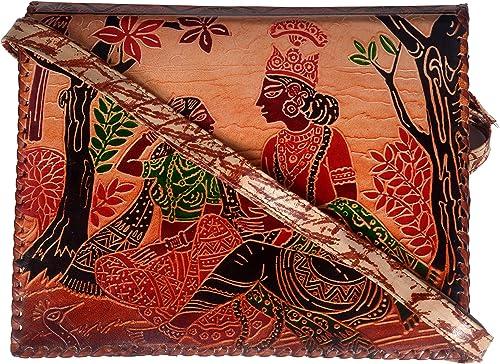 Hand Tooled Painted Genuine Leather Indian Shantiniketan Boho Hippie Ethnic Shoulder Crossbody Bag for Women multicolour