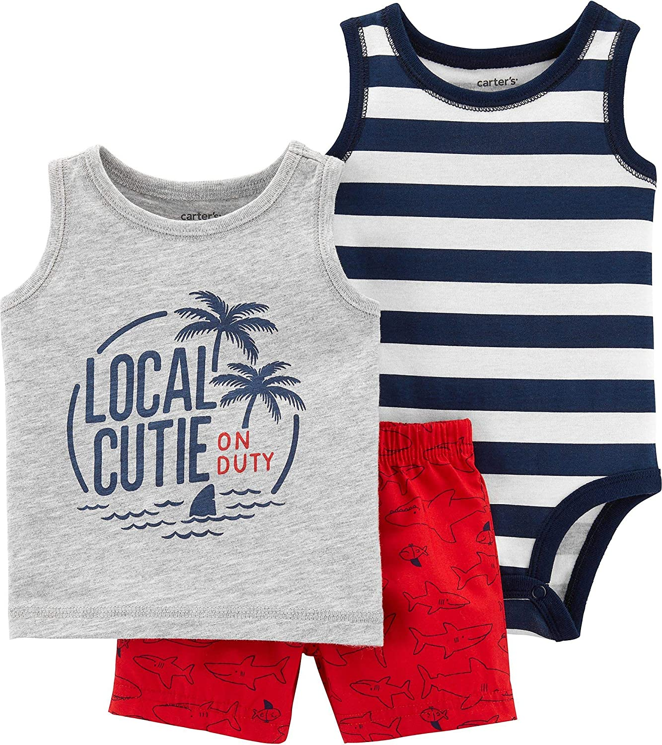 Carter's Baby Boys' Excellent 3-Piece Palm Direct stock discount Trees Set- Little Navy Short