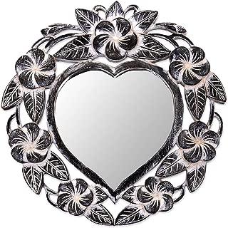 NOVICA 262493 Black Frangipani Heart' Wall Mirror