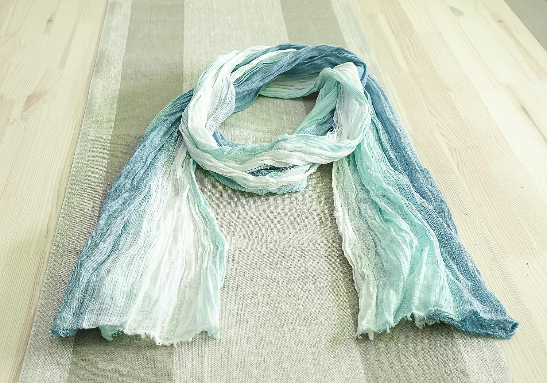 Natural Soft Linen-cotton Max 79% OFF Over item handling Scarf. Linen Handmade scarf. Lightblue
