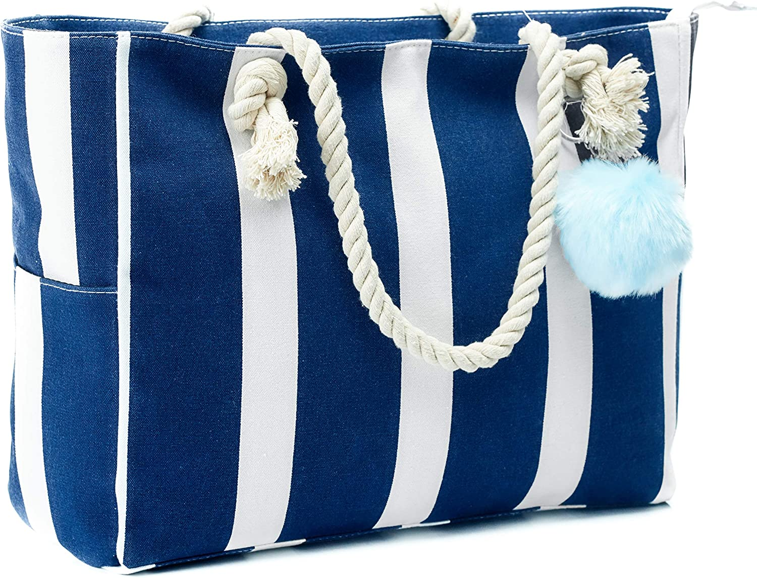 mart Large Canvas Shoulder Bag - Beach Cotton Tote Handles with Mail order Rope