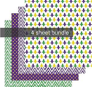 Mardi Gras Vinyl Sheets, Purple Green and Gold Vinyl, Fleur de Lis Chevron Polka Dot 4-12