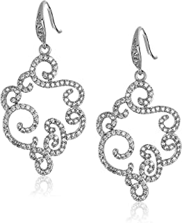 "Carolee""Floral Lace-Bridal/Prom"" Open Frame Pierced Drop Earrings"