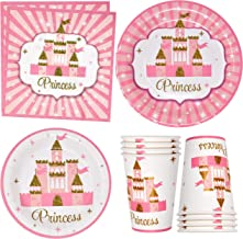 """Pink Princess Party Supplies Tableware Set 24 9"""" Paper Plates 24 7"""" Plate 24 9 Oz Cups 50 Lunch Napkins for Little Princes..."""